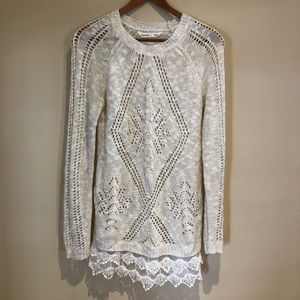 Bluenotes Cream Sweater with Lace